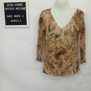 First Kiss Brown and Tan Long Sleeve Top. Sz. Med.